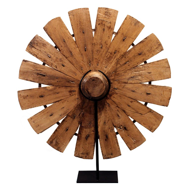 Indian Teak Weaving Wheel on Stand For Sale 2