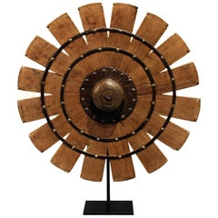 Indian Teak Weaving Wheel on Stand