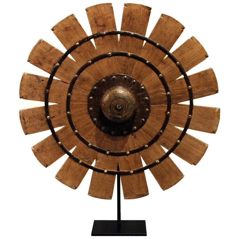 Indian Teak Weaving Wheel on Stand For Sale