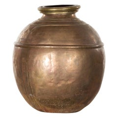 Indian Vintage Brass Water Jar with Concentric Rings and Distressed Appearance