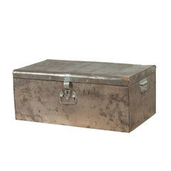 Indian Vintage Metal Tool Box with Distressed Silver Colored Finish and Handles