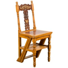 Indian Vintage Metamorphic Step Ladder Carved Chair with Mother of Pearl Inlay