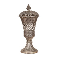 Indian Vintage Silverplate Brass Covered Candle Holder with Open Fretwork