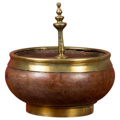Indian Vintage Wood and Brass Lidded Bowl with Central Finial
