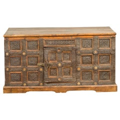 Indian Vintage Wood and Metal Cabinet with Geometric Decor