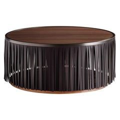 Indian Walnut Coffee Table with Black Leather Fringe