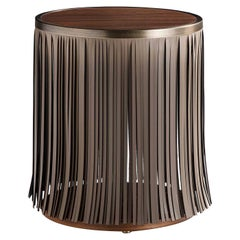Indian Walnut Side Table with Gray Leather Fringe