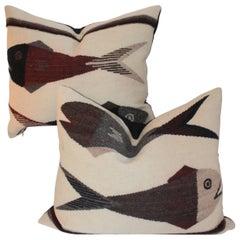 Indian Weaving Fish Pillows / Pair