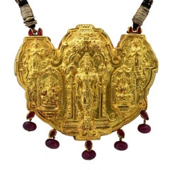 Indian Wedding Hindu Deities 22 Karat Yellow Gold  Necklace