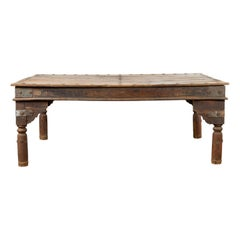 Indian Wood Dining Table with Distressed Patina, Iron Details and Baluster Legs
