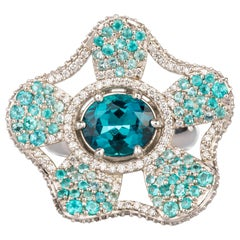 Indicolite and Paraiba Tourmaline Platinum Flower Ring with Diamonds