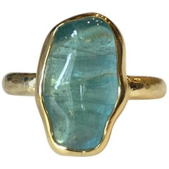 Indicolite Tourmaline 18 Karat Gold Ring