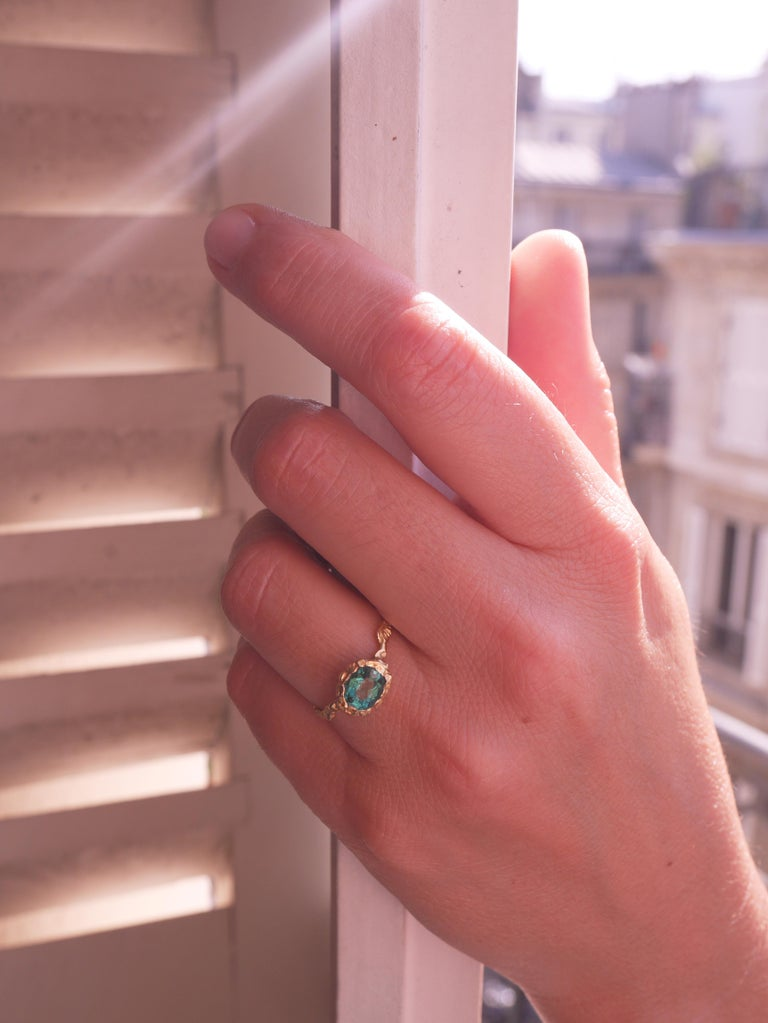 This ring is meticulously handcrafted and cast from 18-karat yellow gold its weight is app. 3grm, it is set with a green Indicolite Tourmaline 1,09ct approx sourced from Madagascar. French size 53 / 6 US size .  It can be made to size on request by