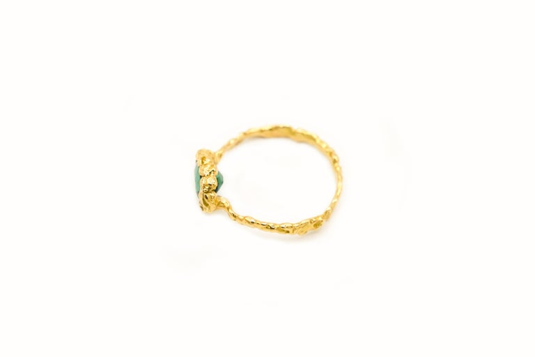 Indicolite Tourmaline 18 Karat Yellow Gold Ring In New Condition For Sale In Paris, FR
