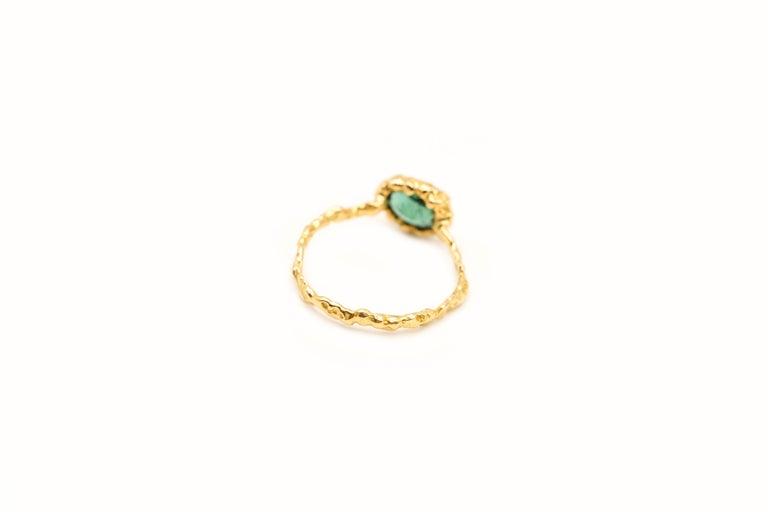 Women's Indicolite Tourmaline 18 Karat Yellow Gold Ring For Sale