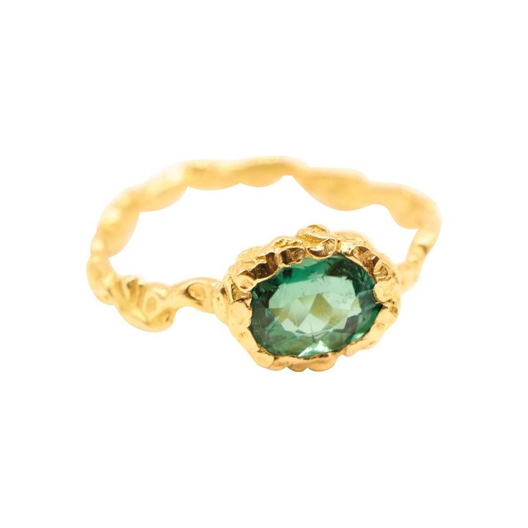 Indicolite Tourmaline 18 Karat Yellow Gold Ring For Sale