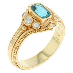 Indicolite Tourmaline, Diamond 18 Karat Gold Cocktail Ring with Fine Granulation