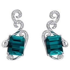 Indicolite Tourmaline Emerald Cut Earrings Diamonds White Gold 12.98 Carat