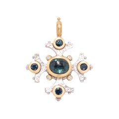 Indicolite Tourmaline Maltese Cross Pendant in Sterling Silver and 22 Karat Gold