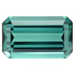 Indicolite Tourmaline Ring Gem 5.42 Carat Emerald Cut Loose Gemstone