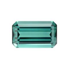 Indicolite Tourmaline Ring Gem 5.42 Carat Emerald Cut Loose Unset