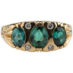 Indicolite Tourmaline Ring in Gold with Diamonds