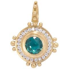 Indicolite Tourmaline Sun Pendant with Diamonds in 18 Karat Gold