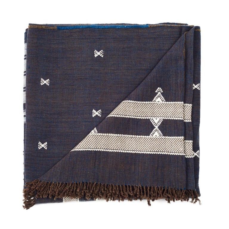 Indie Handloom Throw / Blanket / Bedspread in Indigo Brown Organic Cotton For Sale 2