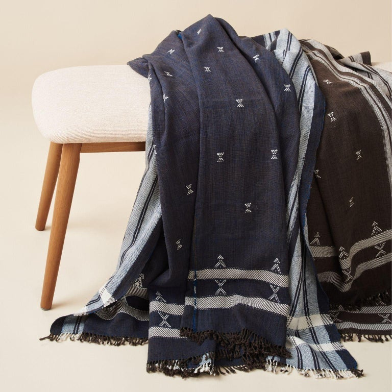 Custom design by Studio Variously, Indie Throw (  or bedspread or blanket ) is handwoven by master weavers in India and dyed entirely with earth-friendly dyes developed locally to artisan cluster.  A sustainable design brand based out of Michigan,