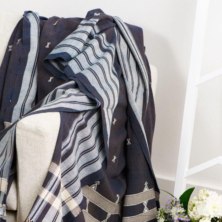 Modern Indie Handloom Throw / Blanket / Bedspread in Indigo Brown Organic Cotton For Sale