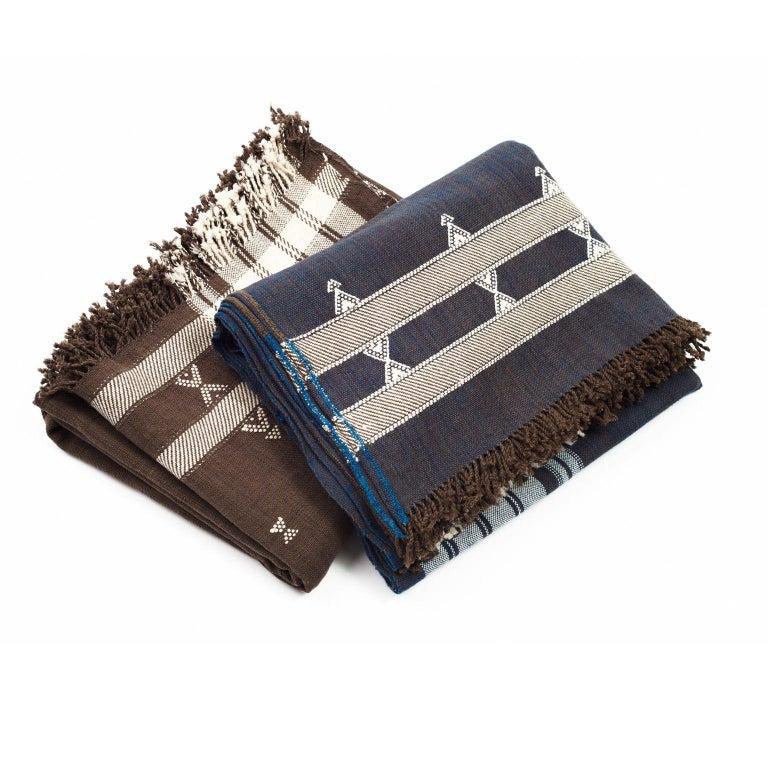 Indian Indie Handloom Throw / Blanket / Bedspread in Indigo Brown Organic Cotton For Sale