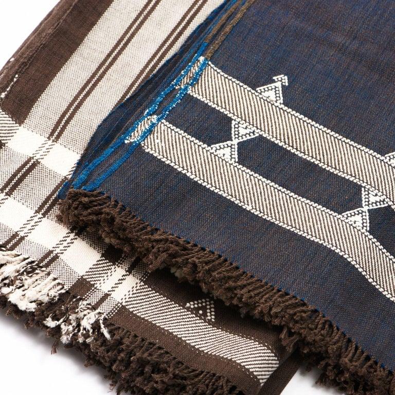 Hand-Woven Indie Handloom Throw / Blanket / Bedspread in Indigo Brown Organic Cotton For Sale