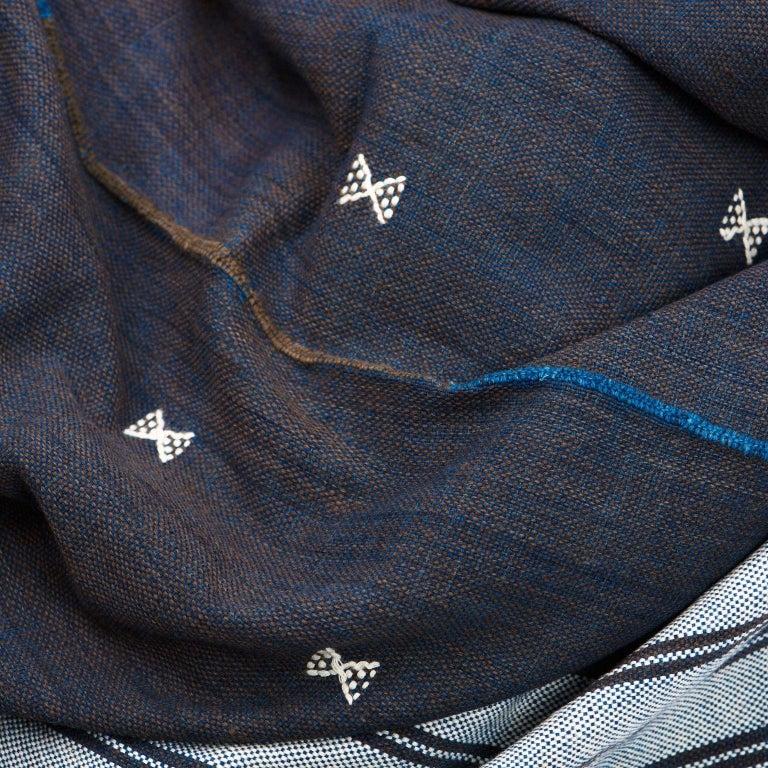 Contemporary Indie Handloom Throw / Blanket / Bedspread in Indigo Brown Organic Cotton For Sale