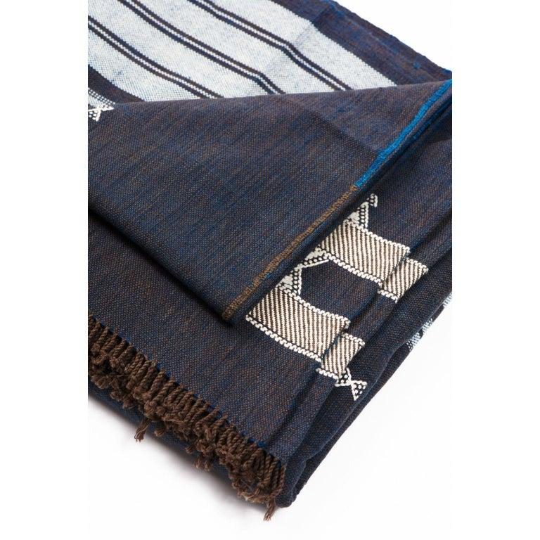 Yarn Indie Handloom Throw / Blanket / Bedspread in Indigo Brown Organic Cotton For Sale