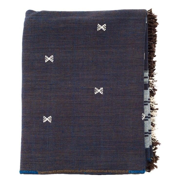 Indie Handloom Throw / Blanket / Bedspread in Indigo Brown Organic Cotton For Sale 1