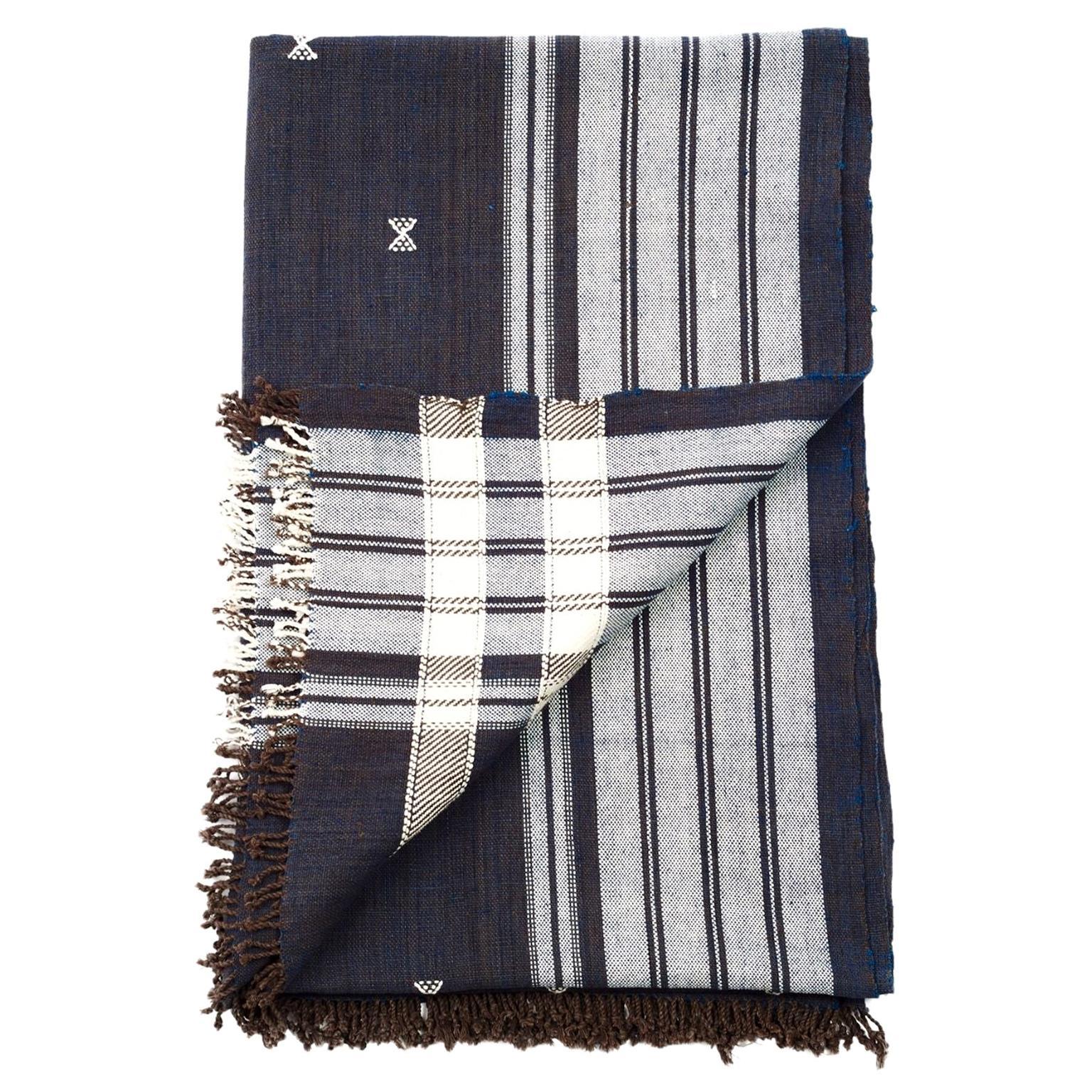 Indie Handloom Throw / Blanket / Bedspread in Indigo Brown Organic Cotton