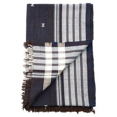 Indie Handloom Throw / Blanket / Bedspread in Indigo Brown Organic Cotton