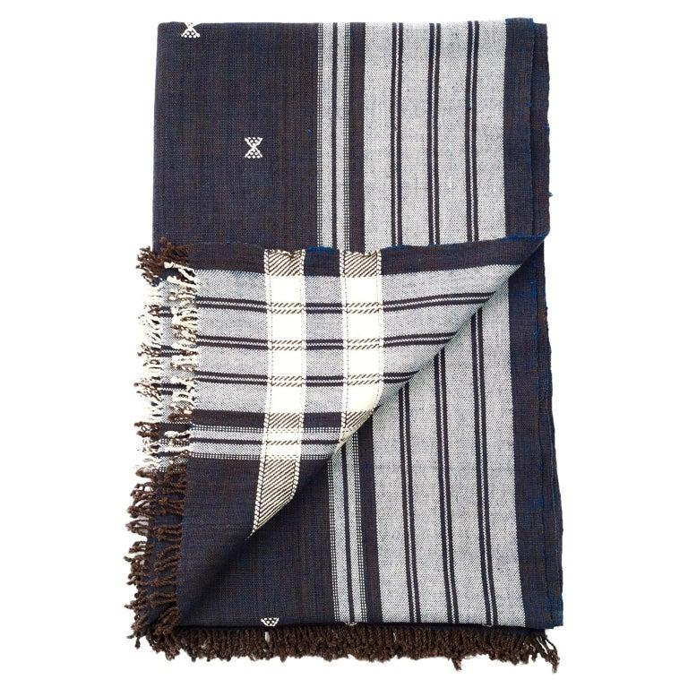 Indie Handloom Throw / Blanket / Bedspread in Indigo Brown Organic Cotton For Sale