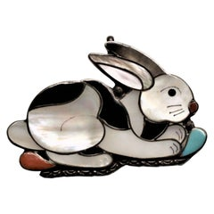 Indigenous Sheyka Sterling Silver and Inlaid Figural Rabbit Brooch or Pendant