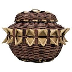 Indigenous Styled Large Handwoven Bird Beak Fancy Lidded Basket