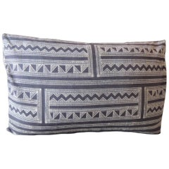 Indigo and White Batik Decorative Lumbar Pillow