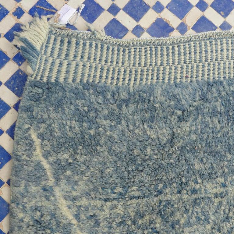 Contemporary Indigo Beni Ouarain Moroccan Berber Rug For Sale