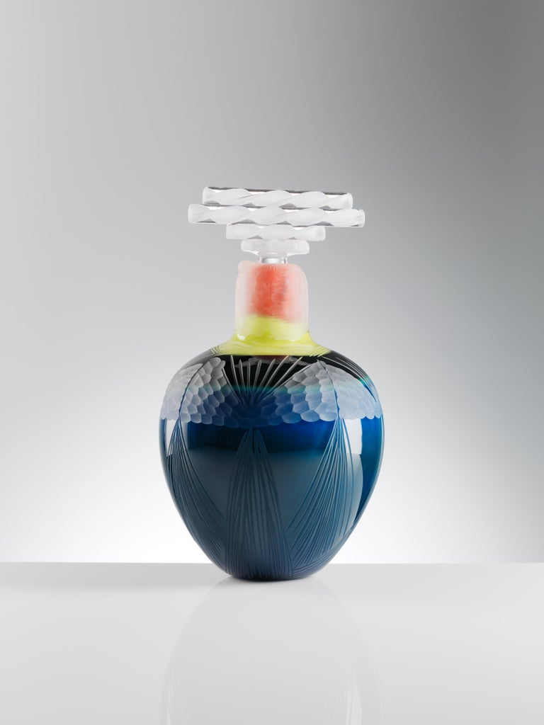 Organic Modern Indigo Blown Glass Vase Handmade by Juli Bolaños-Durman For Sale