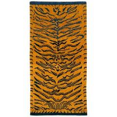 Indigo Blue and Gold Wool Tiger Rug