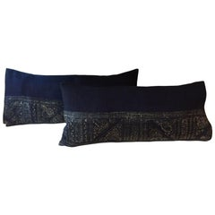 Indigo Blue and Natural Hand-Block Printed Tribal Among Batik Lumbar Pillows