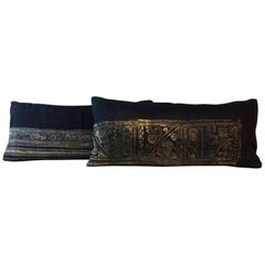 Indigo Blue and Natural Hand-Blocked Tribal Among Batik Lumbar Pillows