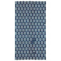 Indigo Blue and White Ewe Kente Cloth African Textile