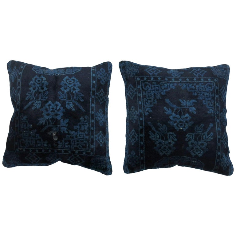 Indigo Blue Pair of 19th Century Rug Pillows For Sale