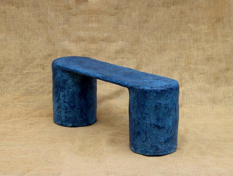 Modern Indigo Blue Paper Pulp Dual Bench by Serra Studio For Sale