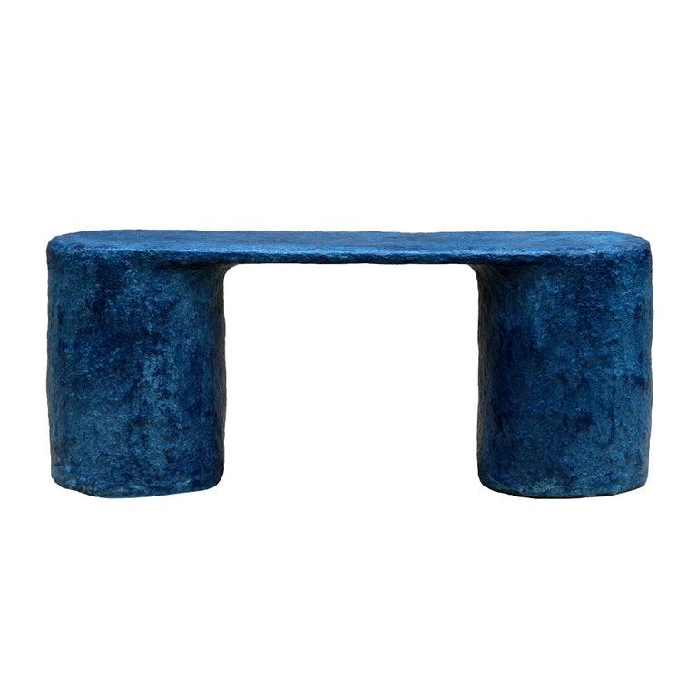 American Indigo Blue Paper Pulp Dual Bench by Serra Studio For Sale